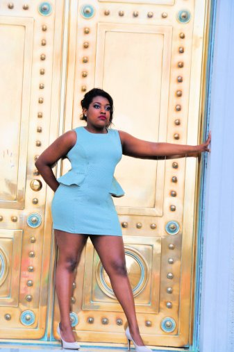 We wanted to sass up the state capitol building and show off the gorgeous green that our model wore! The patina on the doors was a perfect match!